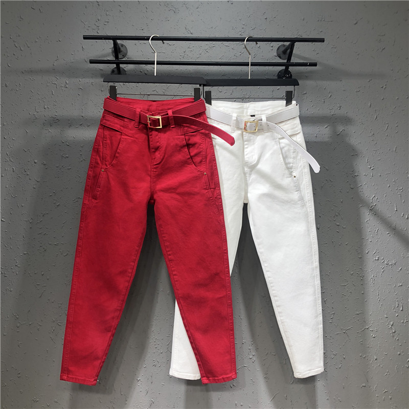 Women White Denim Pants Summer Spring Solid Color Stretch Hallen Jeans Casua Loose Ladies Plus Size Capris Jeans Red Black Y359