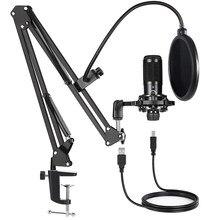 Condensador usb kit de microfone computador com ajustável scissor braço suporte choque montagem para estúdio streaming voz podcasting t669