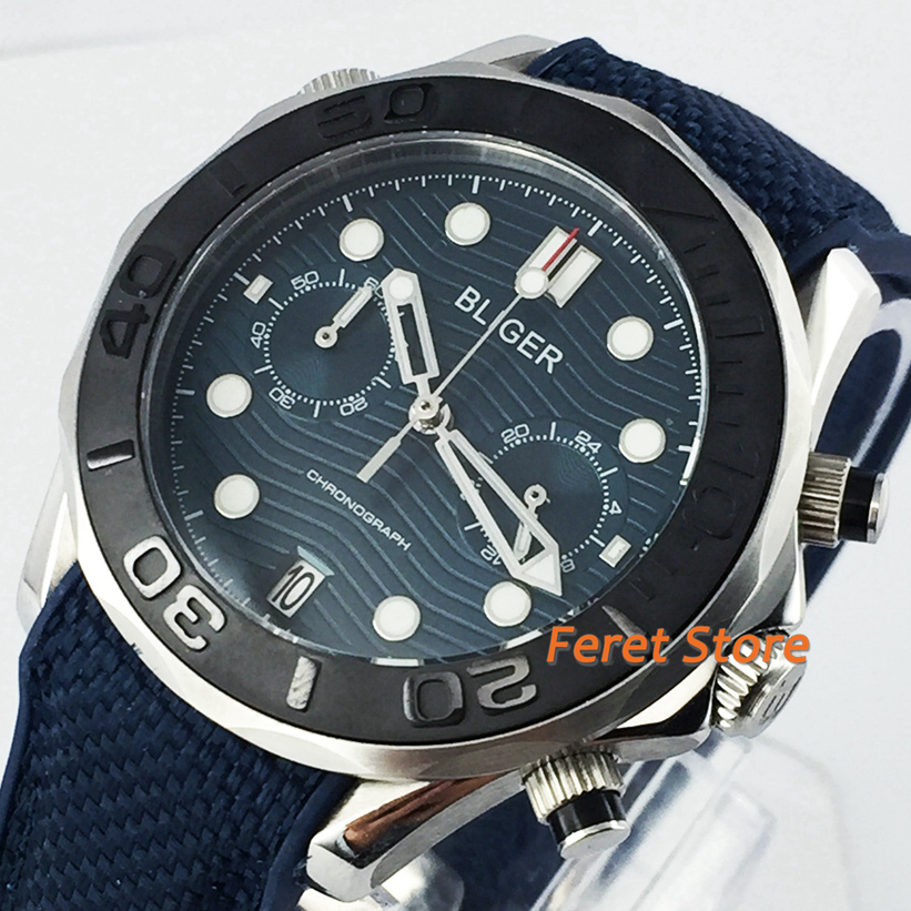 Bliger new 41mm silver case sapphire crystal black ceramic bezel blue dial date rubber strap chronograph top quartz mens watch