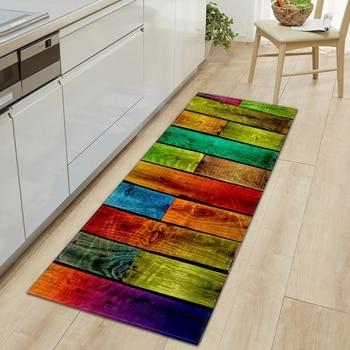цена на Wood Grain Kitchen Carpet Entrance Doormat Bedroom Hallway Floor Mat 3D Cobblestone Bathroom Water Absorption Anti-slip Long Rug