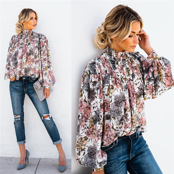 High Collar Floral Blouse Fashion Ladies Autumn Long Sleeve Casual Shirt Top Loose Lantern Sleeve Printed Turtle Neck Shirt Top lace applique lantern sleeve cold shoulder top