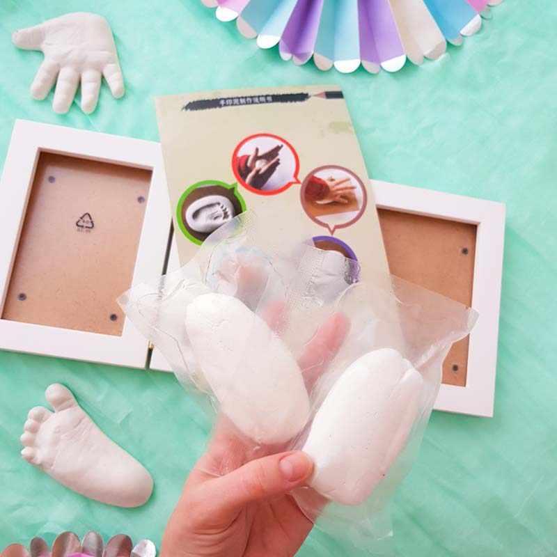 3D bricolage Non toxique empreinte de main argile douce bébé empreinte cadre Photo pour enfants moulages à la main bébés décoration de la maison cadeaux pour enfants