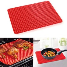 YIBO Baking Mats Silicone Barbecue Pad Microwave Oven Mat BBQ Cooking Plate Tools Red Kitchen Bakeware Gadget