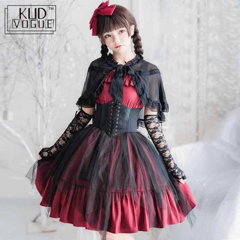 Women Gothic Lolita Dress Bowknot Vintage Anime Cosplay Tutu Dress Costume Party