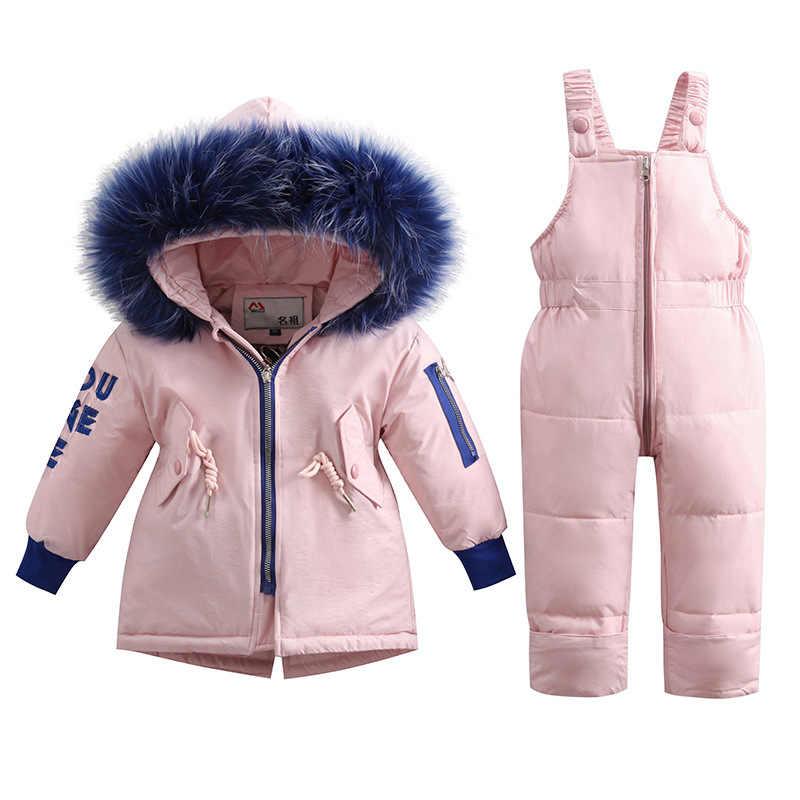 Baby Kids Meisje Kleding Sets-30 Graden Rusland Winter Grote Bont Capuchon Jas + Overall Jumpsuit Sneeuw Kinderen Pak