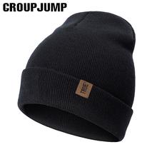 GROUP JUMP Casual Letter prawdziwe zimowe czapki czapki dla mężczyzn damskie czapki z dzianiny Solid Color czapki zimowe czapki narty terenowe Cap tanie tanio GROUPJUMP Dla dorosłych CN (pochodzenie) COTTON Unisex List S8R0104013 Skullies czapki Na co dzień men s beanies hat hat for women