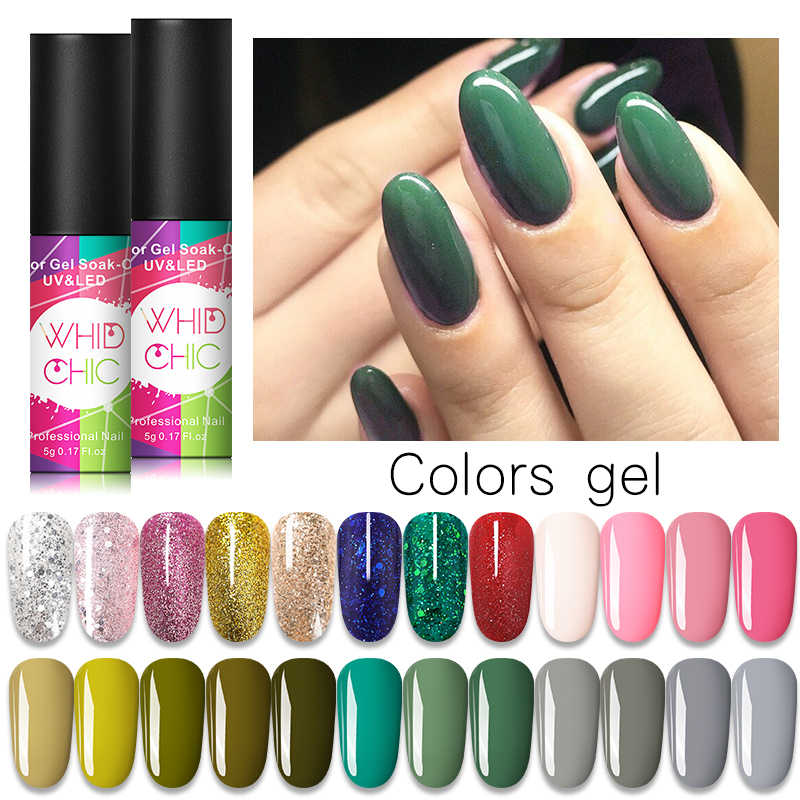 WHID Chic Kuku Gel Polandia Pernis Glitter Termal Berubah Warna Rendam Off Uv Gel Nail Polish Nail Art Gel pernis 5 Ml