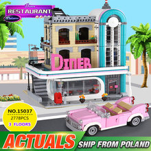 DHL 15037 2480Pcs City Creator Street Downtown Diners Street View Compatible lepining 10260 Building Blocks Bricks Kids Toys