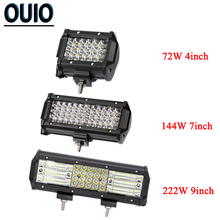 72W/144W/222W LED Light Bar 4 Rows Off-road Driving Led Work Light for Car Tractor Boat 4x4 SUV ATV Truck 4