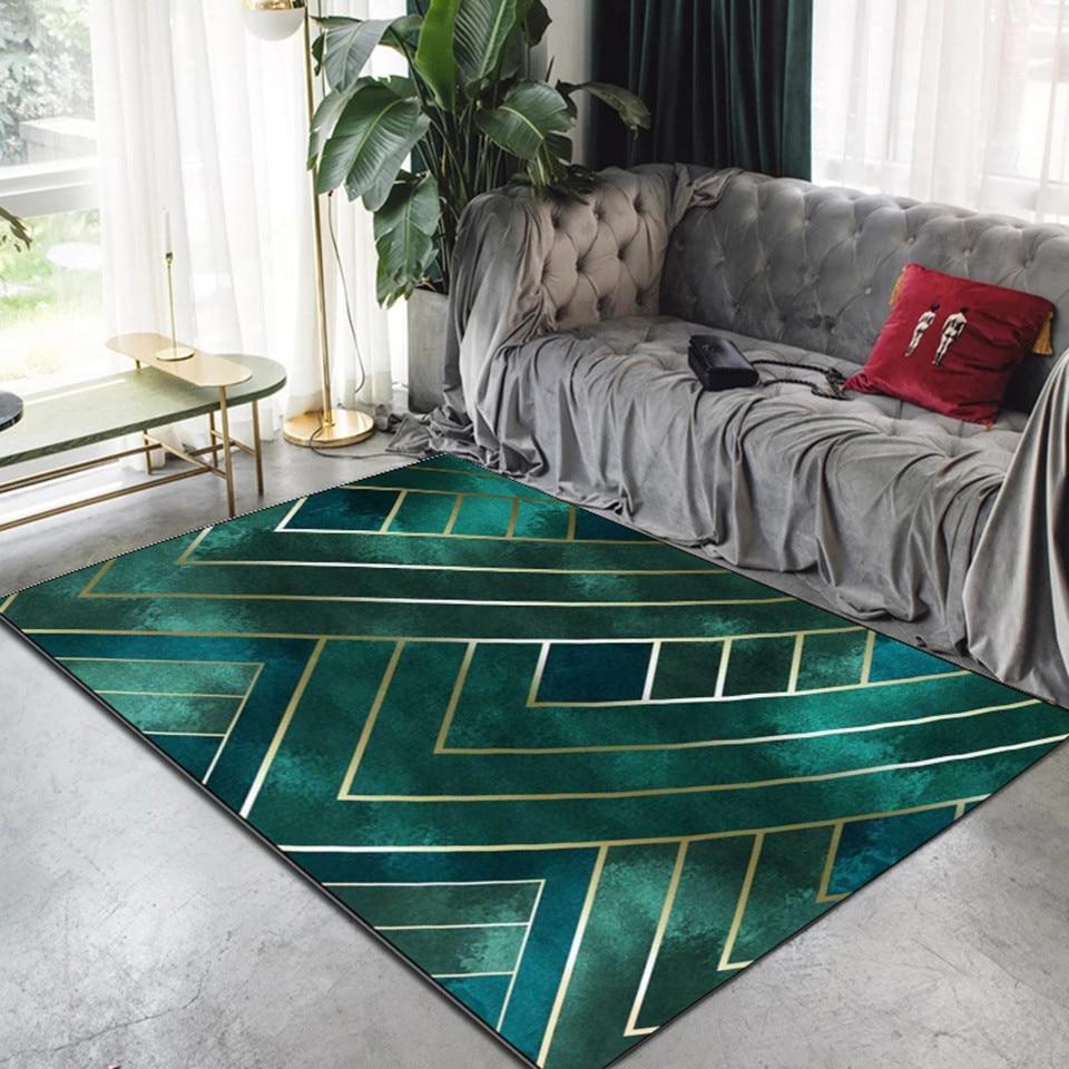 Nordic Luxury Dark Green Gold Line Carpet Living Room Modern Room Decor Area Rug For Bedroom Kitchen Mat Anti Slip Carpet Carpet Aliexpress