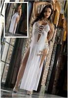 Quente sexy gaze rendas babydoll lingerie branca roupa interior longdress transparente + quente pant translúcido seksi tentação adulto w333