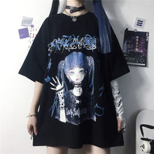 Legal engraçado verão das mulheres kpop t camisas preto harajuku tshirt streetwear dos desenhos animados senhoras solto menina japão topos casual amina tshirt