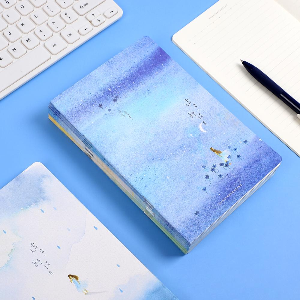 4pcs/set Cute Planet Notebook Wishing Bottle Childhood Fantasy Notepad Homework Books MEETING TABLE 16sheets School Supplies