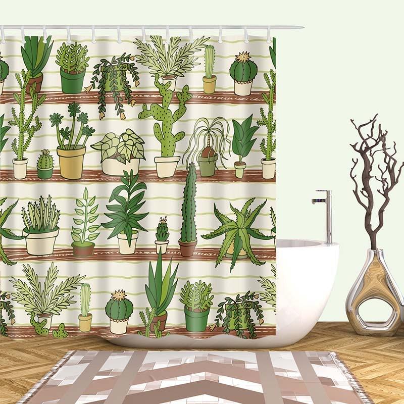 Тропический кактус, занавеска для душа, полиэфирная ткань, занавеска для ванной комнаты, украшения для ванной комнаты, мульти-размер, занавеска для душа с принтом s - Цвет: 17