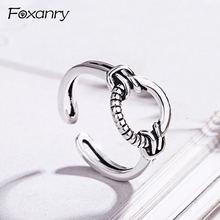 Винтажные плетеные кольца foxanry для вечеринок серебро 925