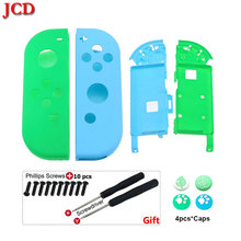 JCD DIY Plastic Replacement Housing Shell Case Cover for Nintendo Switch NS Joy Con w/Animal Crossing Thumb Grip Screwdriver