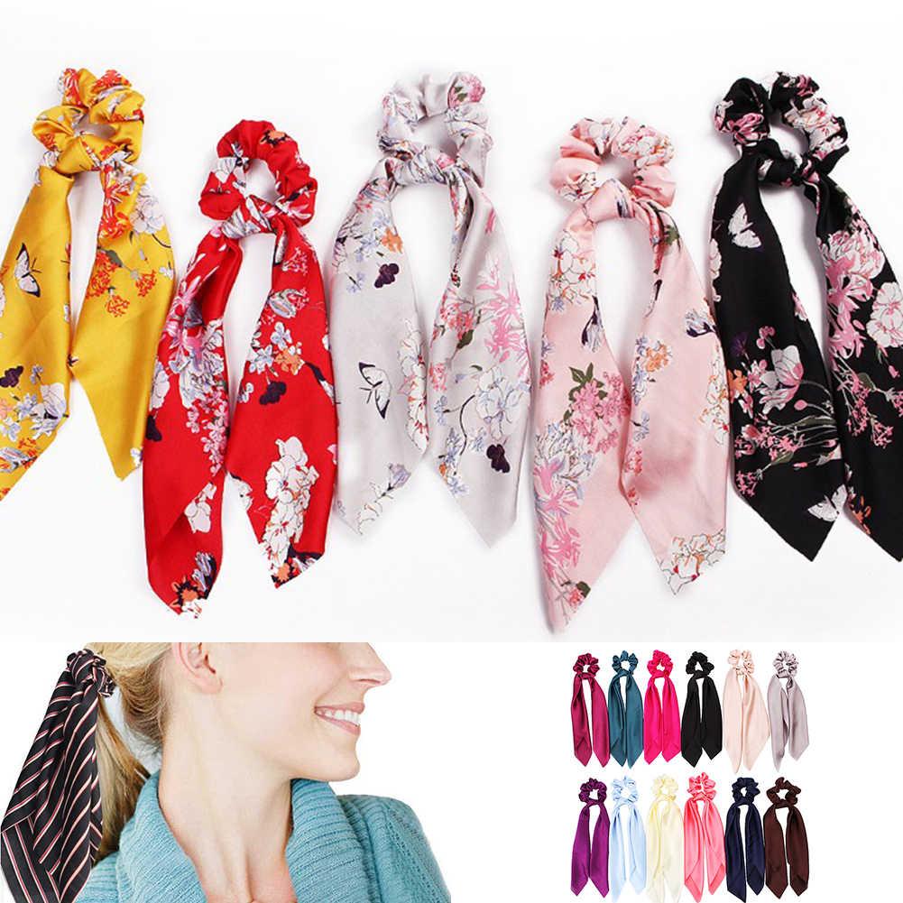 DIY ดอกไม้พิมพ์ผู้หญิงผ้าพันคอซาตินผมวงยืดหยุ่น Bohemian Hairband โบว์ริบบิ้นเชือกผม Scrunchie ผม TIES