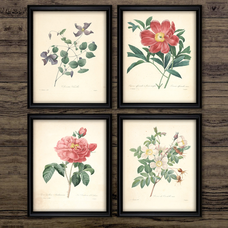 Vintage Flowe Wall Art Canvas Poster Herb Rosemary Sage Thyme Canvas Painting Retro Plant Fruits Pictures Home Office Decor