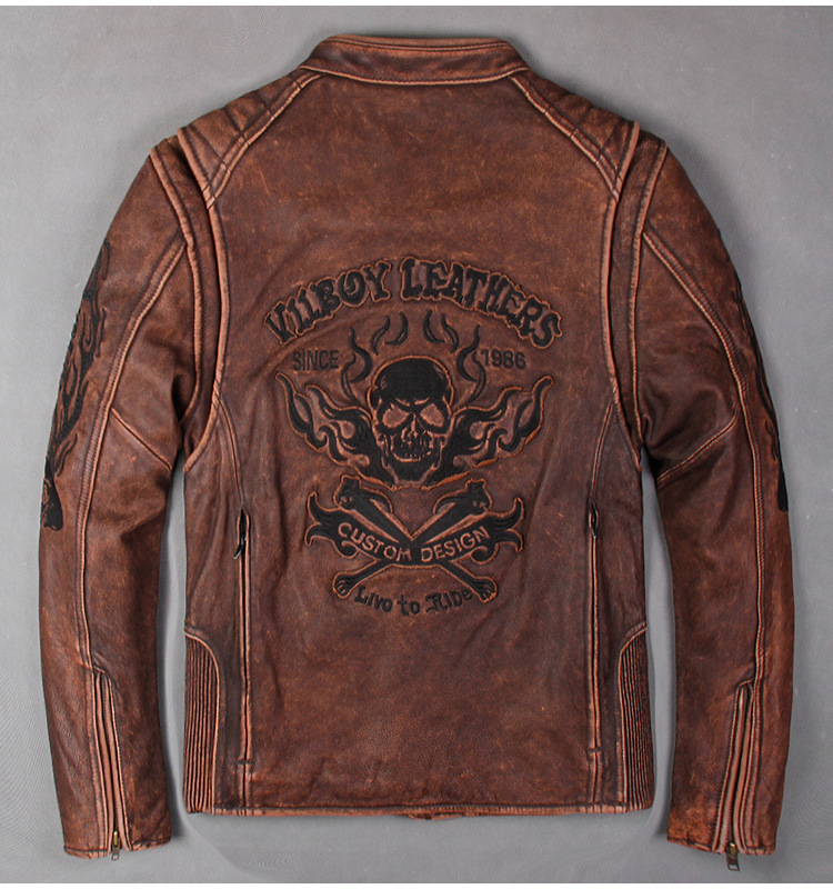 Man Motor Cowhide Men's Genuine Slim Biker Coat Cool Punk Skull Jackets Vintage Leather Jacket