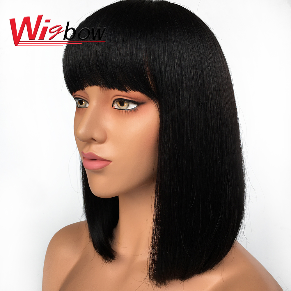 Wigbow Straight Short Blunt Cut Bob Wigs For Women Short Straight Human Hair Bob Wig Brazilian Remy Hair Free Shipping