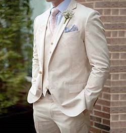 ANNIEBRITNEY Custom Made Beige Linen Beach Men Suits For Summer Groom Tuxedos Masculino Jacket Pants Casual Big Size Suits Set