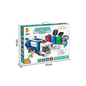 Image 5 - Panlos 660002 Ideeën Serie Vuilnis Classificatie Sanitaire Truck Bouwsteen Stenen Educatief Diy Kinderen Speelgoed Voor Stad