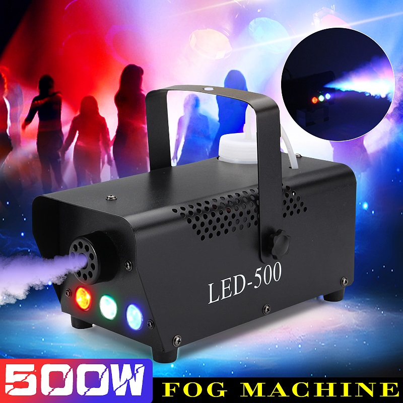 500W RGB LED Fog Machine Remote Control Lighting DJ Party Smoke Thrower DJ Party Light Smoke Thrower