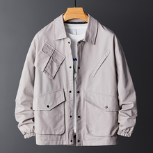 Autumn New Tooling Jacket Men Fashion Solid Color Casual Cotton Multi-