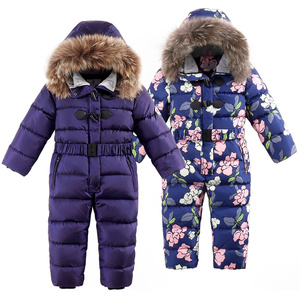 Image 4 -  30 degrees winter kids Siamese Down Jacket Waterproof down jacket for boys Large size thick ski jacket for girls jumpsuit coats