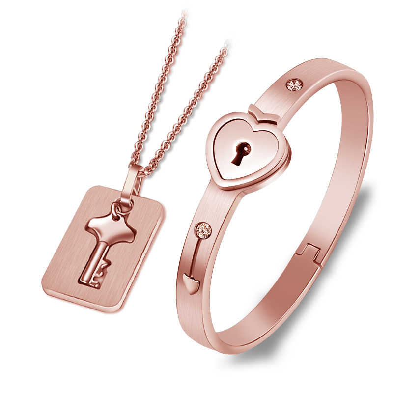 Conjunto de joyería de corazón de acero inoxidable negro/dorado, pulsera de amor, collar de llave para parejas, conjunto para mujer, regalo de boda de circón