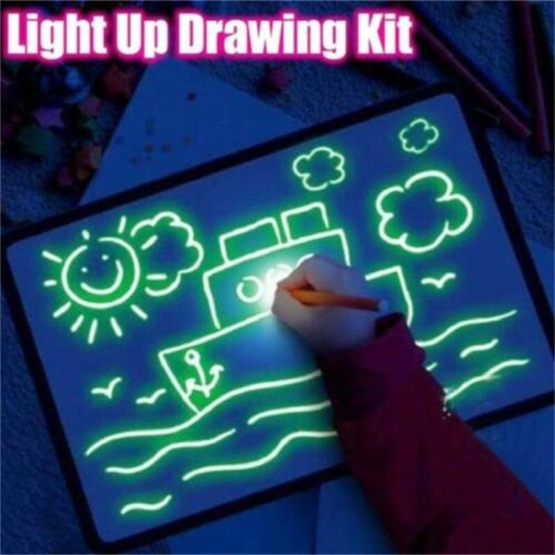 1Pcs A3-A5 LED Luminous Drawing Board Graffiti Doodle Drawing Tablet Magic Draw With Light School Home Teaching Tool For Kids