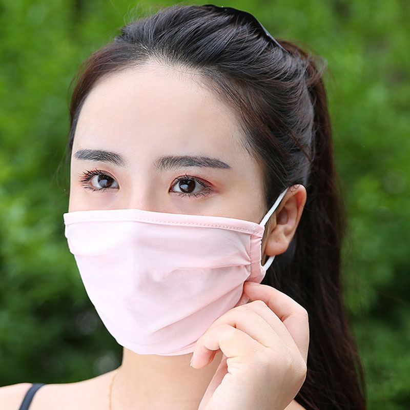 1PC Mouth Mask Anti Haze Dust Washable Reusable Summer Ice Silk Face Mouth Mask For Women Men Unisex 4 Colors Sun Protection