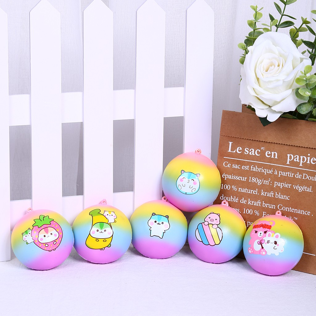 6Pcs Squishy Squeeze Toy Cute Bread Pendant Set Scented Charm Colourful Slow Rising Collection Stress Reliever Toys Kids Gift#p4