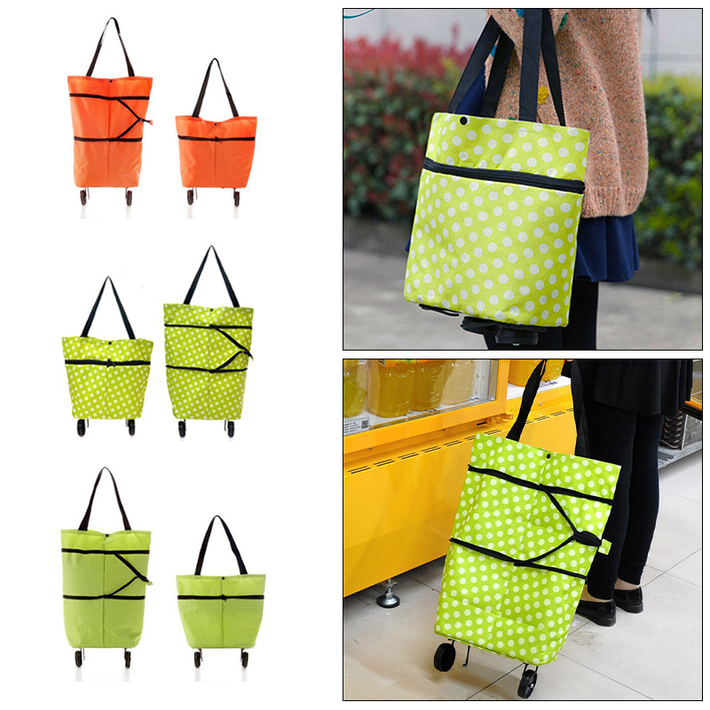 Light Weight <font><b>Folding</b></font> Foldable <font><b>Shopping</b></font> Cart Luggage Travel <font><b>Bag</b></font> Trolley On <font><b>Wheels</b></font> Home Practical Accessories Home Case Containe image