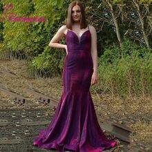Вечернее платье русалки vestidos de fiesta на тонких бретельках
