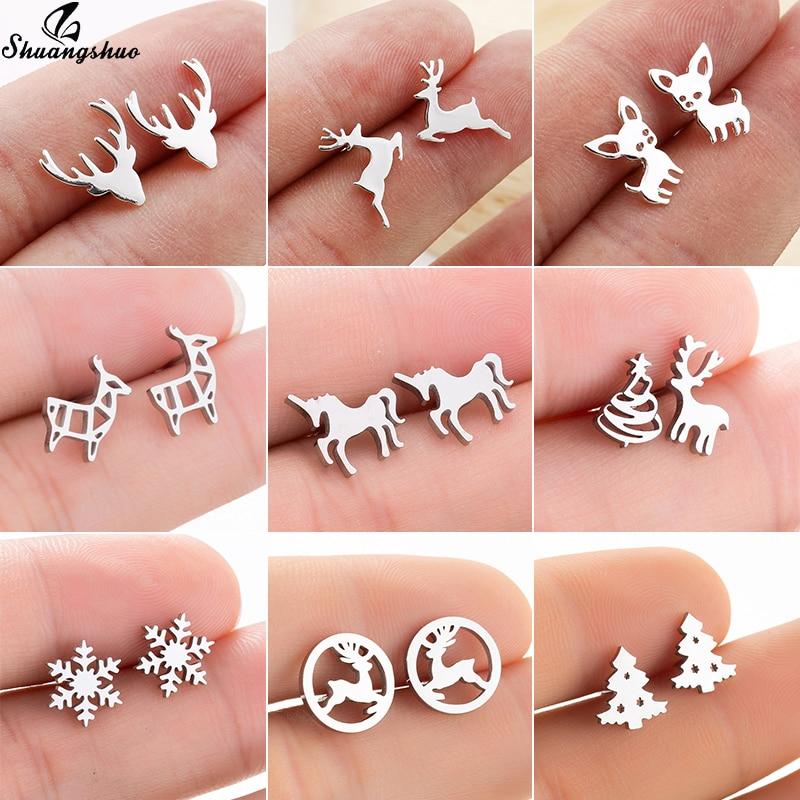 Shuangshuo Fashion Small Deer Stud Earrings for Women Girls Kids Stainless Steel Jewelry Minie Cute Chihuahua Earrings Christmas