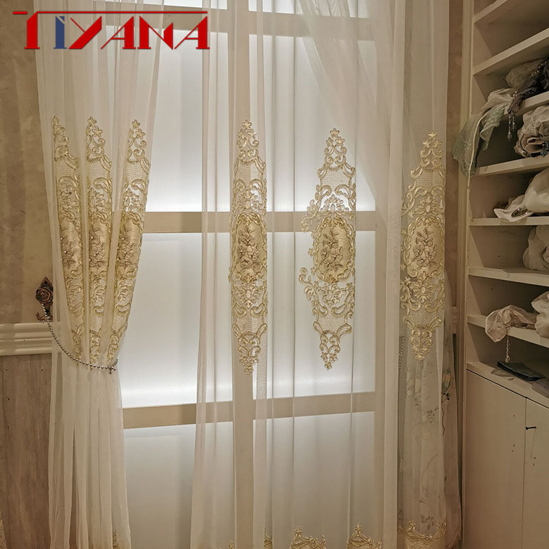 European Luxury Home Decoration Flower Beads Gauze Finished Tulle Curtains For Living Room Bedroom Custom Sheer Panel Size 279#4|Curtains| |  - title=