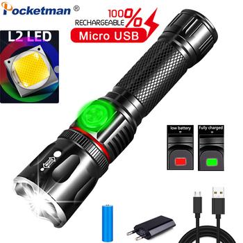 Latarka LED L2 T6 latarka USB akumulator COB latarka LED latarka magnetyczna latarka z zoomem użyj 18650 baterii tanie i dobre opinie POCKETMAN 2-4 plików Ze stopu aluminium ze stopu aluminium Wysoka średnim niskie Odporny na wstrząsy Samoobrona Twarde Światło