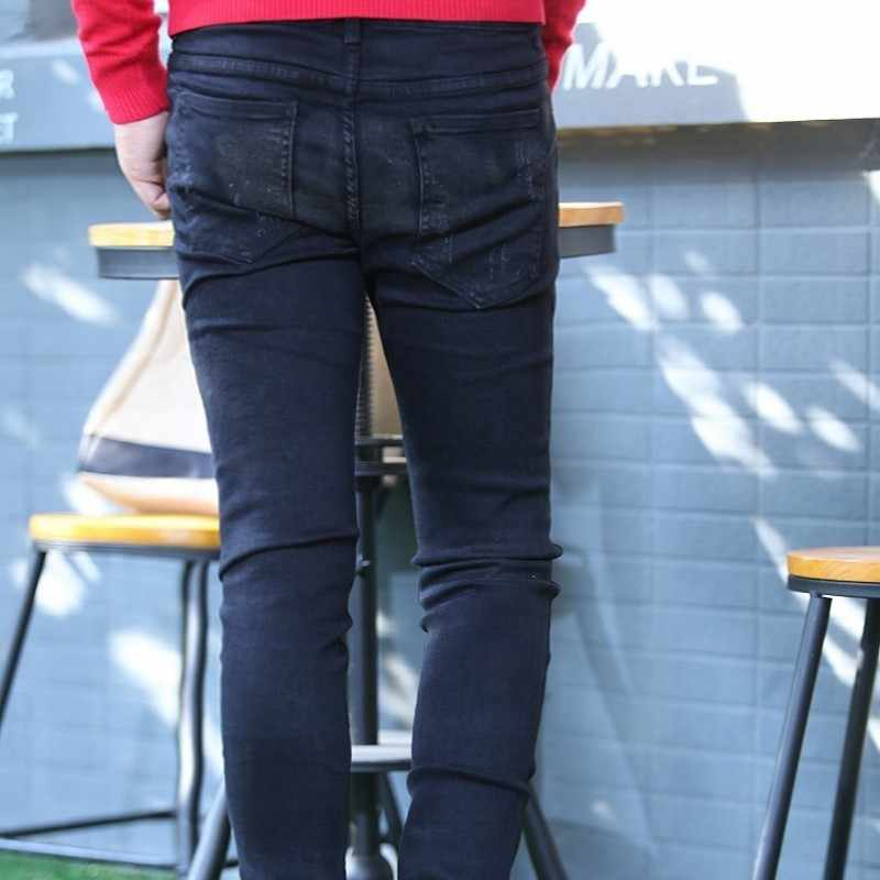 Mode Nieuwe Persoonlijkheid Ritsen Ripped Mens Volledige Lengte Broek Punk Style Black Slim Fit Casual Mannelijke Potlood Broek Streetwear
