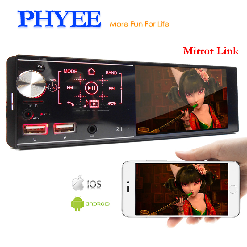 1 Din Car Radio Mirror Link MP5 Player Bluetooth Handsfree USB TF Aux Mic Input 4.1 Touch Screen ISO Stereo System Head Unit Z1 image
