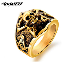 oulai777 2019 stainless steel wholesale Cool Domineering skull ring Gold Retro gothic mens rings jewelry men male punk big