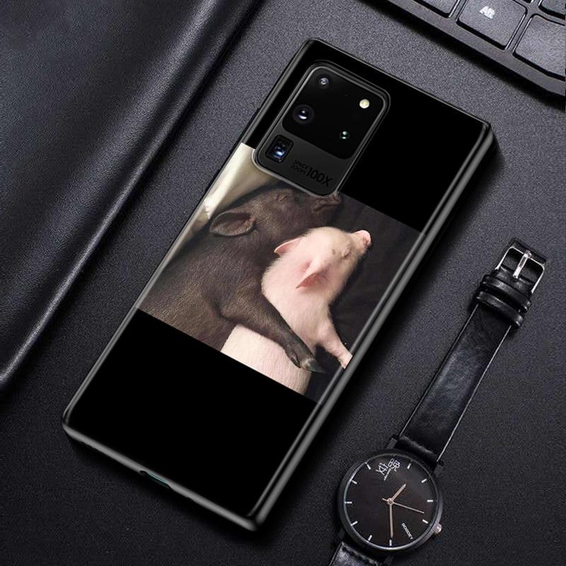 Cute Little Pink Pet Pig For Samsung Galaxy S21 Note 20 Ultra 10 9 8 Plus Pro M60S M40 M30 M31 M20 M10 Black Phone Case
