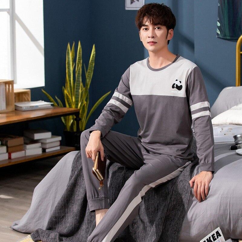 2020 Spring Korean Long Sleeve Pajama Sets For Men Cotton Sleepwear Suit Nightwear Male Loungewear Pyjamas Homewear Home Clothes