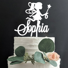 Rose Gold Acrylic Custom Name Birthday Fairy Cake Decoration Accessory Personalized Princess Party Cake Topper Decor for kids