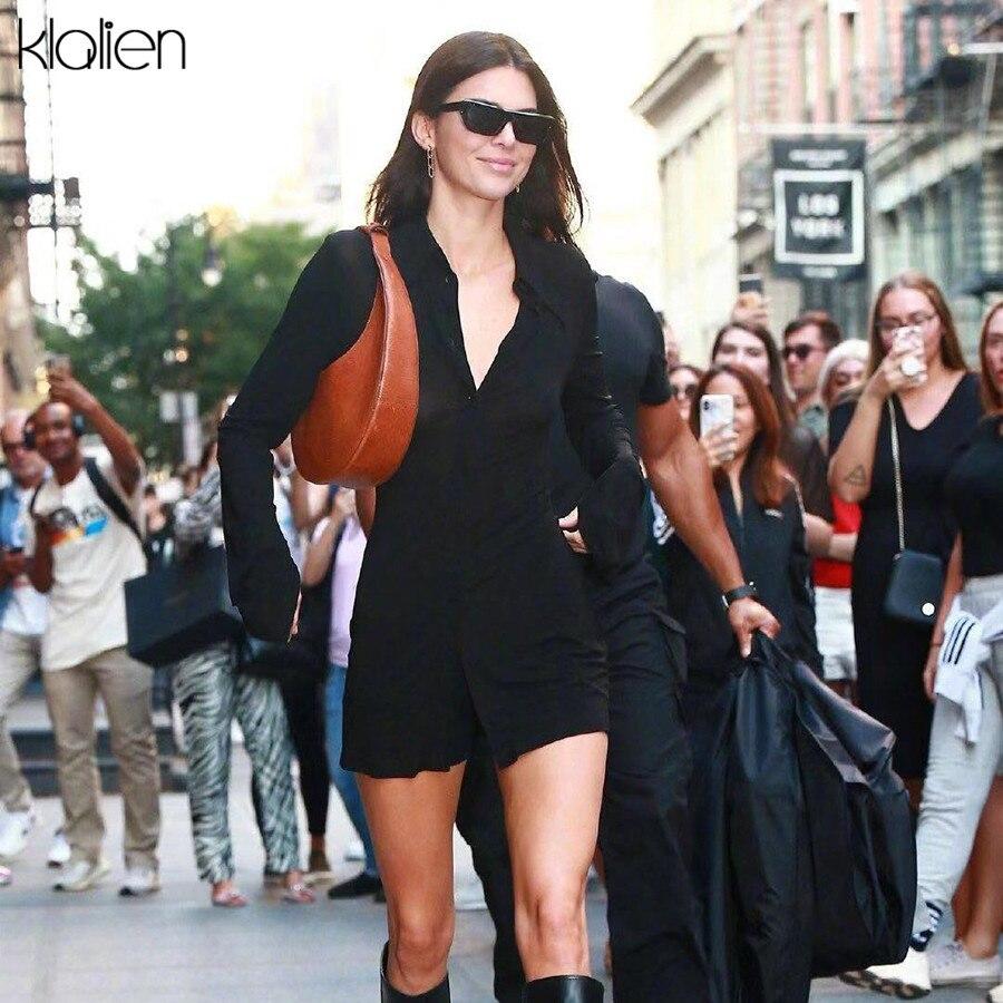 Пикантные ретро рубашки KLILAEN, однобортные облегающие уличные длинные топы с отложным воротником и длинным рукавом, Модные осенние уличные т...
