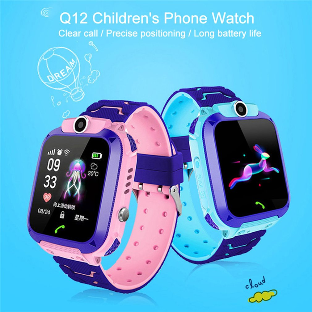New Waterproof Q12 1.5-inch Smart Watch Multifunction Children Digital Wristwatch Baby Watch Phone For IOS Andriod Kid Gift GPS