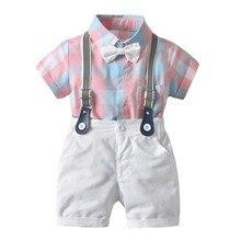 Детская одежда устанавливает летние дети мальчиков с коротким рукавом топы + ремни шорты +ремни + галстук-бабочка дети джентльмен костюм одежда наборы
