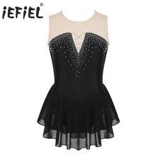 Iefiel для детей девочек к требованиям заказчика; сверкающие; сращивания кататься на коньках фантазия платья для участия в конкурсах бального танца, для подростков Gymn балетки Леотард-костюм