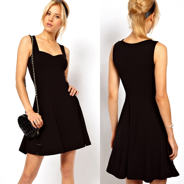 Sexy Black Summer Clothes Bodycon Mini Tank Dress High Waist Slim Solid Fit Flare Skater Casual Dress Women Club Clothing 5
