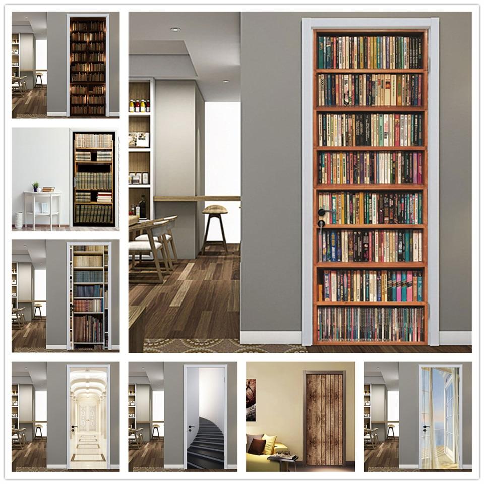 Retro Library Bookshelf Door Sticker Vinyl Waterproof Removable Art Door Poster Home Decor Renovation For Study Room House Door